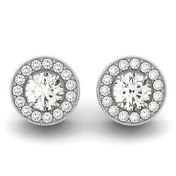 14K White Gold Round Diamond Halo Milgrain Border Earrings (3/4 ct. tw.)