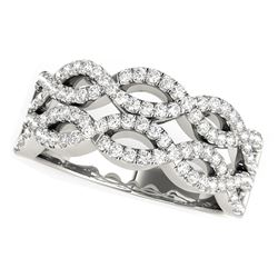 Diamond Studded Double Interlocking Waves Ring in 14K White Gold  (5/8 ct. tw.)