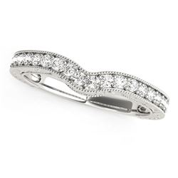 14K White Gold Bead Border Curved Diamond Wedding Band (1/4 ct. tw.)