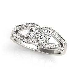 Two Stone Split Shank Design Diamond Ring in 14K White Gold (3/4 ct. tw.)