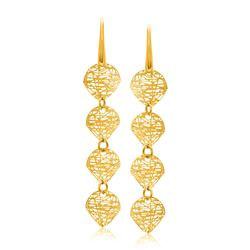 14K Yellow Gold Leaf Like Chain Dangling Earrings