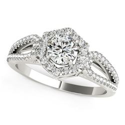 14K White Gold Round Diamond Engagement Ring with Hexagon Halo Border (7/8 ct. tw.)