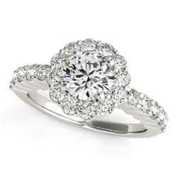 14K White Gold Round Floral Motif Diamond Engagement Ring (1 5/8 ct. tw.)