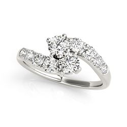 14K White Gold Two Stone Overlap Design Diamond Ring (1 ct. tw.)