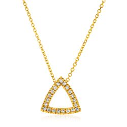 14K Yellow Gold 18 inch Necklace with Gold and Diamond Open Triangle Pendant (1/10 ct. tw.)