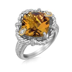 18K Yellow Gold and Sterling Silver Cushion Whisky Quartz and Diamond Ring