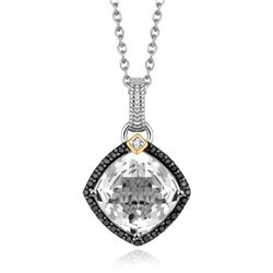 18K Yellow Gold and Sterling Silver Pendant with Crystal Quartz and Diamonds