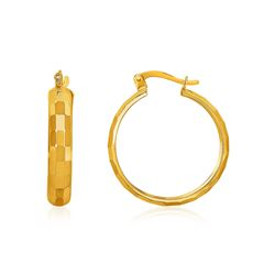10K Yellow Gold Geometric Textured Hoop Style Earrings