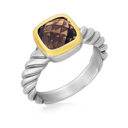 18K Yellow Gold and Sterling Silver Cable Style Cushion Smokey Topaz Ring