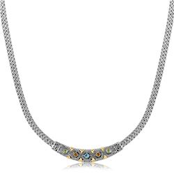 18K Yellow Gold and Sterling Silver Wheat Chain Necklace with Multi Gem Accents