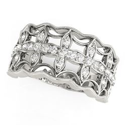 Diamond Studded Four Leaf Clover Motif Ring in 14K White Gold (1/4 ct. tw.)