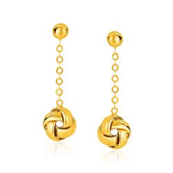 14K Yellow Gold Love Knot Drop Post Earrings