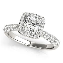 14K White Gold Halo Princess Cut Pave Band Diamond Engagement Ring (1 1/3 ct. tw.)