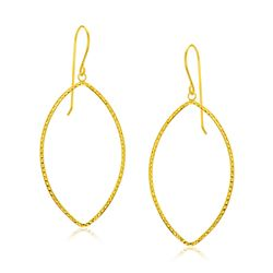 14K Yellow Gold Diamond Cut Texture Marquise Shape Earrings