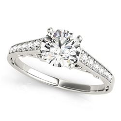 14K White Gold Cathedral Design Single Row Round Diamond Engagement Ring (1 1/4 ct. tw.)