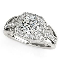 14K White Gold Baroque Shank Style Round Cut Diamond Engagement Ring (1 1/4 ct. tw.)