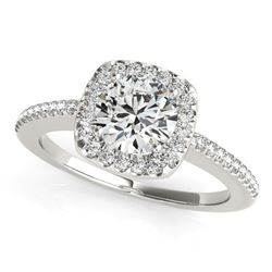 14K White Gold Round Pave Style Slim Shank Diamond Engagement Ring (1 1/8 ct. tw.)