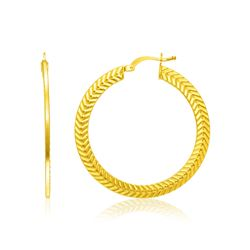 14K Yellow Gold Chevron Texture Hoop Earrings