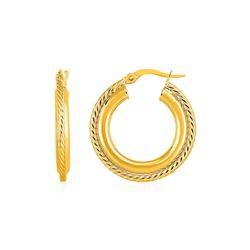 Rope Texture Hoop Earrings in 14K Yellow Gold