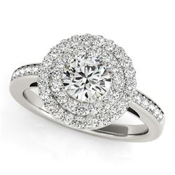 14K White Gold Round with Two-Row Halo Diamond Engagement Ring (1 1/2 ct. tw.)