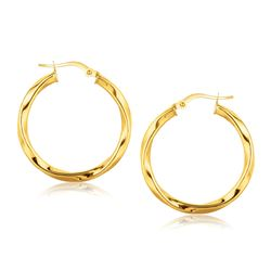 14K Yellow Gold Classic Twist Hoop Earrings (1 inch Diameter)