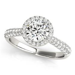 14K White Gold Halo Round Diamond Engagement Ring with Graduated Pave Band (1 1/3 ct. tw.)