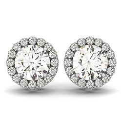 14K White Gold Four Prong Round Halo Diamond Earrings (1 1/6 ct. tw.)