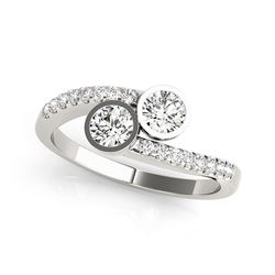 14K White Gold Round Bezel Setting Two Stone Diamond Ring (5/8 ct. tw.)