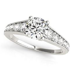 14K White Gold Antique Style Tapered Shank Round Diamond Engagement Ring (1 3/8 ct. tw.)