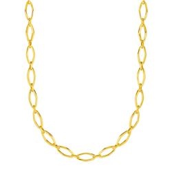 Polished Oval Marquise Link Necklace in 14K Yellow Gold