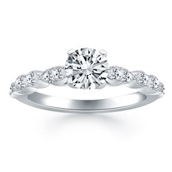 14K White Gold Fancy Shaped Diamond Engagement Ring