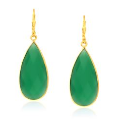 Sterling Silver Yellow Gold Plated Green Onyx Long Teardrop Earrings