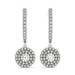 14K White Gold Double Halo Round Diamond Drop Earrings (1 ct. tw.)