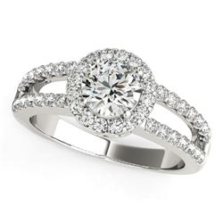 14K White Gold Round Diamond Split Shank Design Engagement Ring (7/8 ct. tw.)