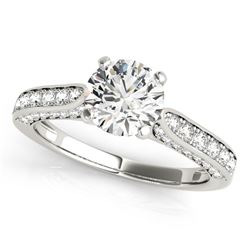 14K White Gold Round Cathedral Diamond Engagement Ring (1 1/2 ct. tw.)