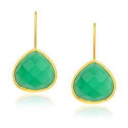 Sterling Silver Yellow Gold Plated Teardrop Faceted Green Onyx Earrings