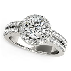14K White Gold Halo Diamond Engagement Ring With Double Row Band (1 3/8 ct. tw.)