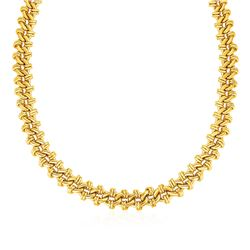 Oval Link Necklace with Link Details in 14K Yellow Gold