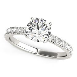 14K White Gold Single Row Shank Round Diamond Engagement Ring (1 1/3 ct. tw.)