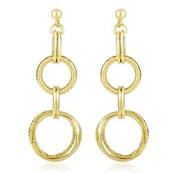 14K Yellow Gold Dangling Earrings with Multi-Textured Entwined Circles