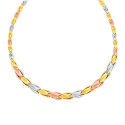 Graduated Flower Link Necklace in 14K Tri Color Gold