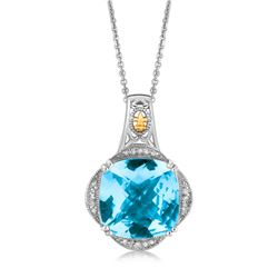 18K Yellow Gold and Sterling Silver Blue Topaz and Diamond Fleur De Lis Pendant