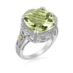 18K Yellow Gold and Sterling Silver Cushion Green Amethyst Ring (.09 ct. tw.)