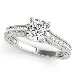 14K White Gold Trellis Antique Style Round Diamond Engagement Ring (1 1/4 ct. tw.)