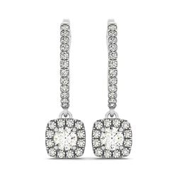 Cushion Shape Halo Style Diamond Drop Earrings in 14K White Gold (1/2 ct. tw.)