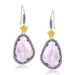 18K Yellow Gold & Sterling Silver Fleur De Lis Style Amethyst Drop Earrings