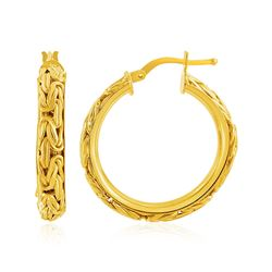 14K Yellow Gold Byzantine Hoop Post Earrings