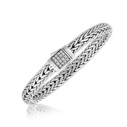 Sterling Silver Braided Style Men's Bracelet with White Sapphire Stones