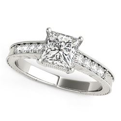 14K White Gold Antique Style Pronged Princess Cut Diamond Engagement Ring (1 1/8 ct. tw.)