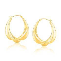 14K Yellow Gold Scallop Motif Graduated Oval Hoop Earrings